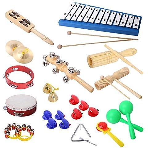 CAHAYA Percussion Spielzeug Cahaya Kinder 17 Stück Musikinstrumente Performance Schlagzeug Schlagwerk Rhythmus Instrumenten and Set mit Glockenspiel