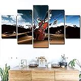 Peinture Décorative 5 Peintures Consécutives Peinture Murale Hd Imprime Photos Modulaires Chambre D'Enfants Décor À La Maison Moderne Guitare Musique Affiche Murale Art Toile Peinture-Frame_30X40CM_30