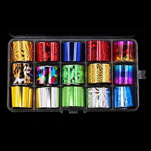 Gaddrt Nail Art Transfer Folie 15 Farben Aufkleber für Nagel Spitze Dekoration & Star Kleber Set (A)