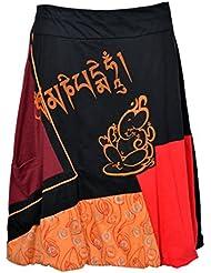 Tattopani longueur genou Jupe colorées avec une ceinture élastiquée et Ganesh Imprimer -GANESH SKIRT