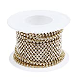 #8: Rrimin Rhinestone Crystal Chain ,Crystal Beads for Decoration,10yards/Roll Clear Rrystal for Jewelry DIY Making (SS6 Gold)
