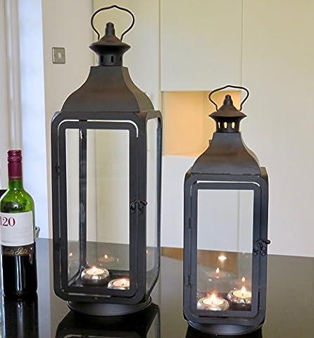 Lot de 2Hauteur lanternes en métal et verre Noir (Lot de 2)