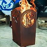 Metallmichl Edelrost FC Schalke 04 Feuerkorb Eckig Höhe 64 cm 32,5 x 32,5 cm, Feuerschale/Feuertonne für Echte S04 und Bundesliga Fan´s aus Rost Metall