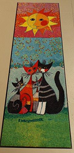 Efia Matte Momenti di Felicita SLD0153-060x180 Momente der Glück-Seligkeit 60 x 180cm Katzen unter Einer Sonne Fußmatte Matten Teppich-Vorleger Teppiche Katze Salonloewe wash