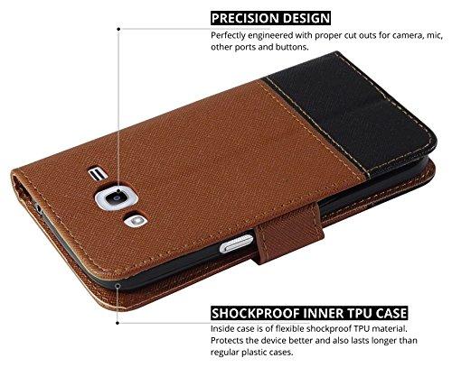 Ceego Wallet Flip Cover for Samsung Galaxy J2 (2016) / J2 Pro – [Credit Card Slots & Wallet] [Ultimate Value for Money] – EcoGo Series Samsung J2 (2016) / J2 Pro Flip Case (Brown / Black)