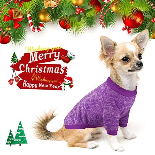 Idepet Haustier Katze Hund Pullover, Warme Hund Pullover Cat Kleidung, Fleece Haustier Mantel für Welpen Klein Mittel Groß Hund (XS, Lila) (Große Hund Kleidung)