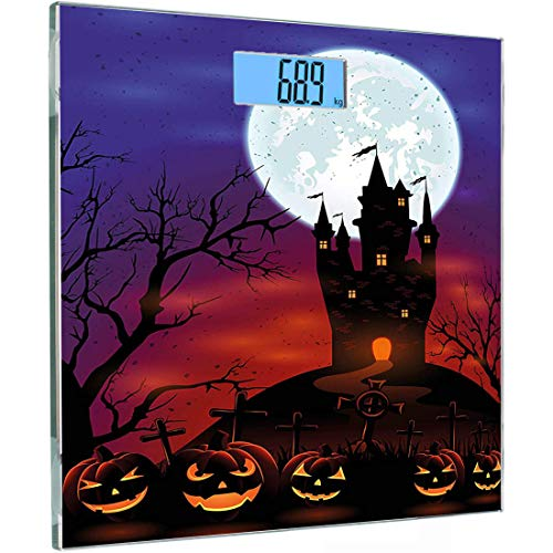 Ultraflache, hochpräzise Sensoren Digitale Waage mit Körpergewicht Halloween ations Personenwaage aus gehärtetem Glas, Gothic Haunted Castle auf Hill Valley Nachthimmel Oktoberfest-Thema, Lila