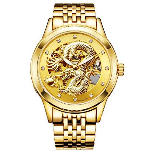 Gskj orologio al quarzo da uomo metallo impermeabile moda orologio oro cavo orologio adatto a uomini attività commerciale tempo libero