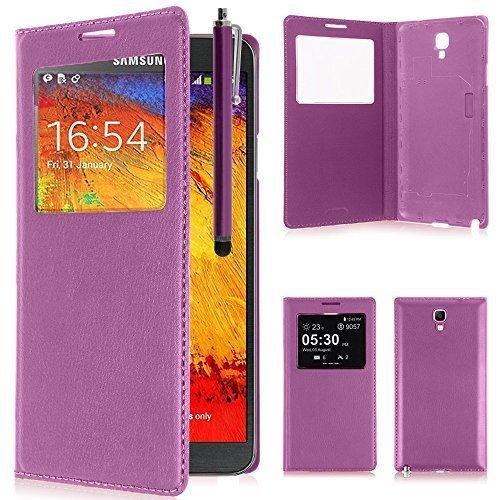 VCOMP Custodia Cover Guscio sportellino Vista Compatibile con Samsung Galaxy Note 3 Neo/Lite Duos 3G LTE SM-N750 SM-N7505 SM-N7502 - Viola + Pennino