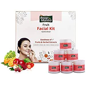 Roop Mantra Fruit Facial Kit For Healthy Skin 240gm, Oily Skin, Dry Skin, All Skin Types (Cleansing Milk, Face Scrub, Massage Gel, Face Pack, Nourishing Cream, Face Bleach), 240 g