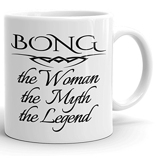 Bong Coffee Mug Kaffeetasse Kaffeebecher Personalisiert mit Name - The Woman The Myth The Legend Gift for Frauen Women - 11 oz White Mug