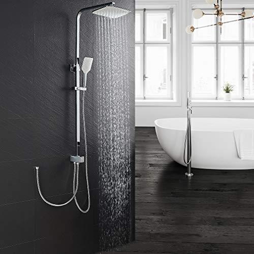 Lonheo asta doccia regolabile per vasca bagno con soffioni doccetta e deviatore saliscendi doccia a parete colonna doccia in inox senza miscelatore