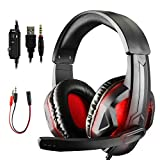 Diswoe Gaming Headset for PS4 Xbox One PC, 3.5mm LED Gaming Headphones