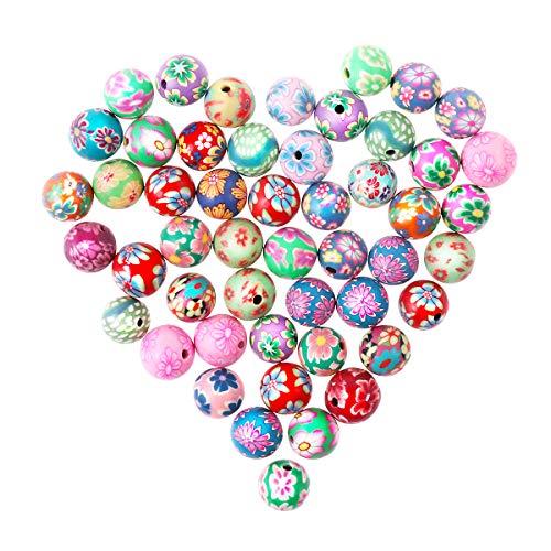 Healifty Perlas Redondas de acrílico Sueltas Perlas de Arcilla polimérica DIY Craft Beads para la Pulsera del Collar Accesorio de la joyería 50pcs 10mm (Color Mezclado)