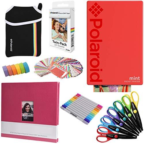 t-Taschendrucker (Rot), Kunstdruck Paket + Papier (20 Blatt) + 8 x 8 Fotoalbum + Tasche + 12 Marker + 100 Rahmenaufkleber + 6 dekorative Scheren + Washi Tape ()