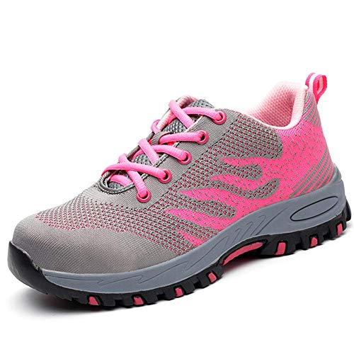 populalar Sicherheitsschuhe Herren Damen Arbeitsschuhe Stahlkappe Atmungsaktiv Leicht Sportlich Trekking Wanderhalbschuhe Mesh Schutzschuhe Traillaufschuhe Pink38