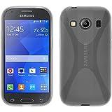 PhoneNatic Case kompatibel mit Samsung Galaxy Ace 4 - Clear Silikon Hülle X-Style + 2 Schutzfolien