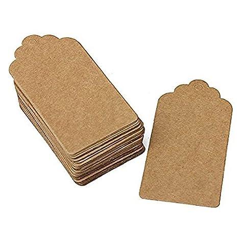 Ceeva 100pcs Papier Kraft Marron Étiquettes de Cadeaux Etiquette De Scallop De Mariage Bagage En Bois + Cordes