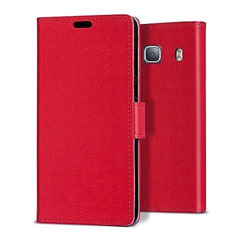 bdeals Élégant Flip Housse Étui en PU Cuir Portefeuille Protection Coque pour Samsung Galaxy J3 2016 Coque ,rouge