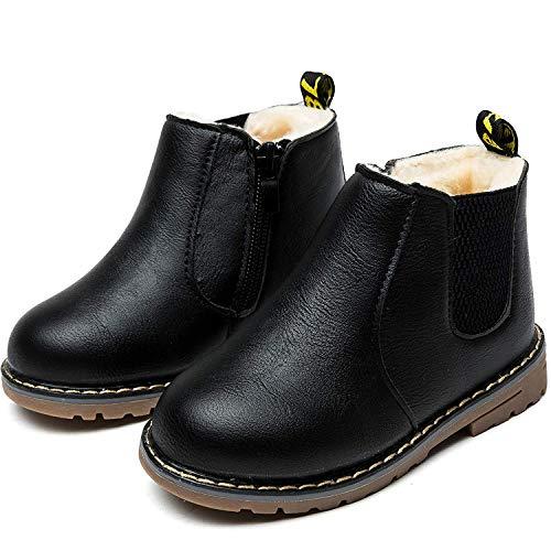 Nasonberg Jungen Mädchen Winter Leder Schneestiefel Warme weiche Winterschuhe Boots für Kinder Baby, Schwarz2, 32 EU=Innenlänge 18,6CM