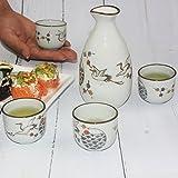 KAZE, Porzellan Sake Set, 5-teilig Sake Becher mit Flasche, Japanischer Stil, KranichMuster, Grau