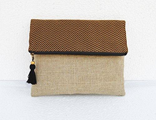 Boho Leinen Tasche, Brokat Tasche, Schwarz und Gold, Chevron Muster, marokkanisches, Foldover Kupplung, 25,4x 20,3cm (Gefüttert, Clutch Baumwolle)