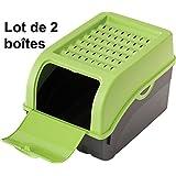 2 x Boîte de conservation pour Pommes de terre, Légumes, Fruits, Oignons, Boîte de rangement en plastique, Volume de 7,7 litres (Lot de 2 boîtes) en vert