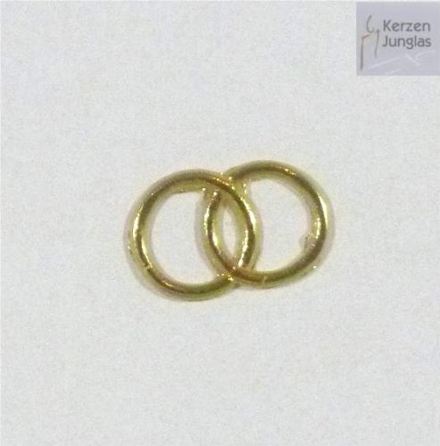 Wachsmotiv Eheringe gold glänzend 15x25 mm - 9621 - Wachsdekor für Kerzen (Ring Kerze)