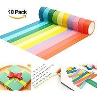 10 Cintas adhesivas 10M*1.5CM DIY Washi Tape Etiqueta engomada del arco iris 10 colores