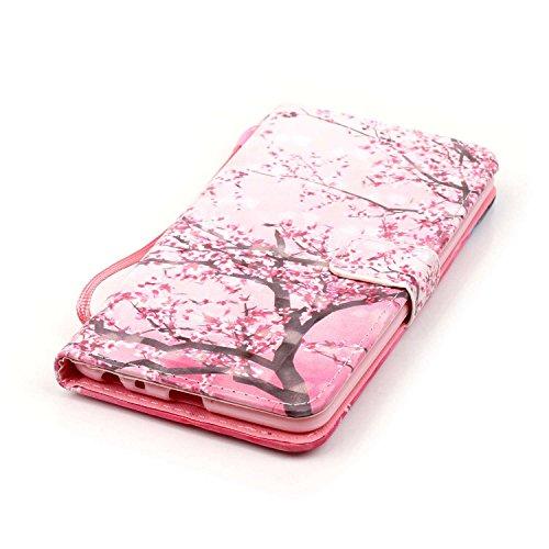 Coque Etui pour LG G Stylo 2 /LG G Stylus 2 LS775, LG G Stylo 2 Coque en Cuir Portefeuille Flip Etui Housse, LG G Stylus 2 LS775 PU Cuir Coque Folio Stand Etui Wallet Case Cover, Ukayfe Etui de Protec Cherry tree#