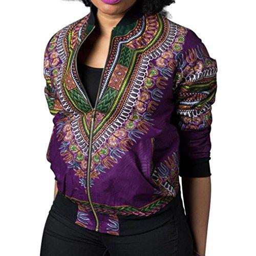 JURTEE Damen Long Sleeve Afrikanischer Kurzmantel Lässige Oversize Jacke Mantelüberzug(Lila,Small)