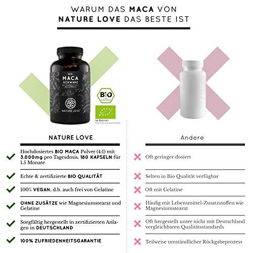 Bio Maca Kapseln – 3000mg Bio Maca schwarz je Tagesdosis. 180 Kapseln. Mit natürlichem Vitamin C. Ohne Zusätze wie Magnesiumstearat. Zertifiziert Bio, hochdosiert, vegan, hergestellt in Deutschland