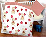 7dreams® Kinder Baby Bettwäsche Baumwolle 100x135cm Kissenbezug 40x60cm (Teddy Bär mit Herzen)