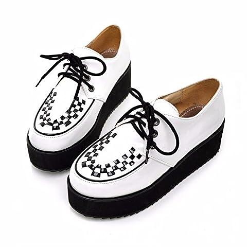 Der Big Size Damen Schuhe, lässig, flach und tief, einzelne Schuhe Schüler Schaum Zwischensohle, weiß, 36