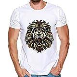 feiXIANG Bluse Streetwear Tops Herren Kurzarm Drucken Sweatshirt für Männer Sportbekleidung Freizeitkleidung(B/Weiß,XXXL)