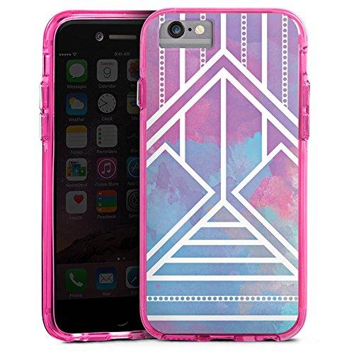 Apple iPhone 6 Bumper Hülle Bumper Case Glitzer Hülle Ethno Pastell Galaxy Modern Bumper Case transparent pink