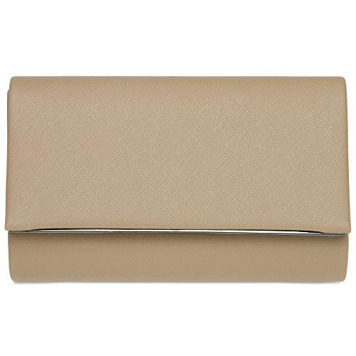 CASPAR TA361 elegante Damen Envelope Clutch Tasche / Abendtasche mit langer Kette, Farbe:sand;Größe:One Size