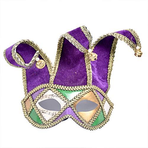 Karneval Vintage Clown Maskerade Maske Kostüm Halbes Gesicht Kostüm Halloween Mardi Gras Masken Für Erwachsene Cosplay - Mardi Gras Clown Kostüm