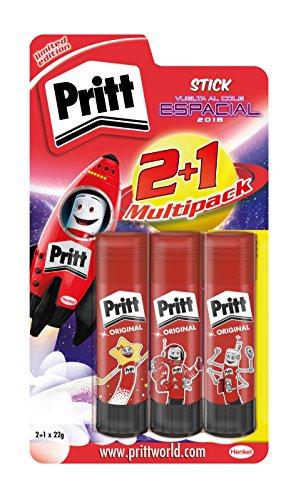 Pritt Pack de Barras de pegamento infantil, de uso rápido y fácil, sin disolventes, 2 +1 x 22gr
