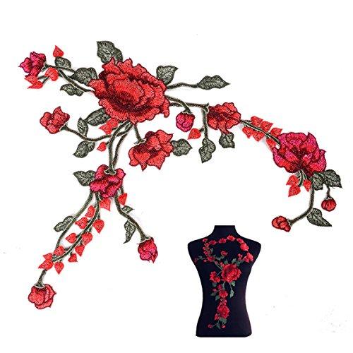 1 x Stickerei Flecken Rosen Blumen Abzeichen Gestickte für Cheongsam Gewebe Applique 300 x 400mm (Stickerei-gewebe)