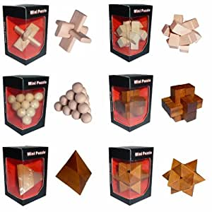 Un mini casse tête chinois en bois - Vendu à l'unité - Modèle aléatoire - Jeux de patience - Pyramide, cube, boule etc..