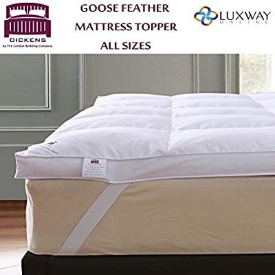 5cm Goose Feather & Down Mattress Topper Elasticated Strap - All Sizes - The London Bedding Company - low-cost UK light shop.