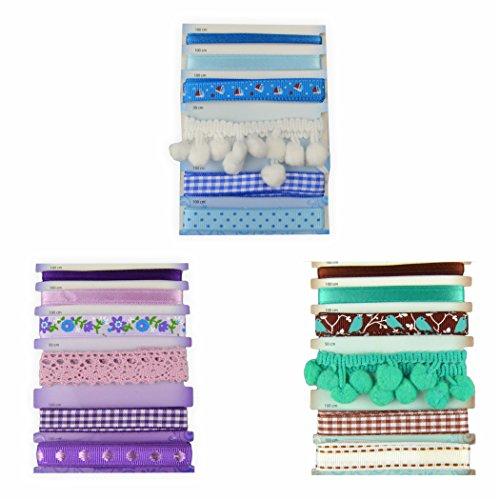 Creleo 791713 Stoffbänder Set, je 6 Bänder pro Farbe zum basteln und gestalten, braun/lila/blau