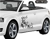 Blume Ranke Schmetterling Autoaufkleber Autostyle !!!Produktbeschreibung und merkmale lesen bitte !!! Größe ca. 60 cm x 70 cm - Schwarz