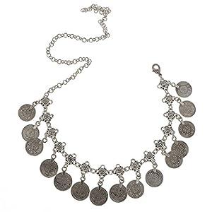 dailymall Bohemien Haarkette Stirnband Münzen Haarschmuck Kopfschmuck Farbe Silber