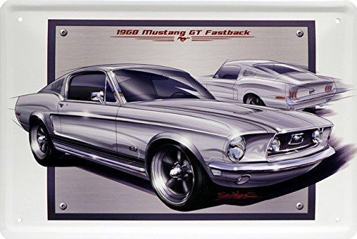 ford-mustang-gt-fastback-1968-us-car-plaque-de-20-x-30-retro-tole-786