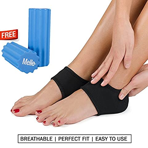 Plantar Fasciitis 2in1 Bundle By Mello-Foot Arch Support Wrap & Foam Roller Set-Ideal For Foot Pain Relief, Therapy & Massager -Breathable Heel Pad & Textured Roller For Men & Women (Choose Sock Size)