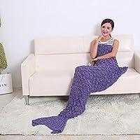 Manta de punto hecho a mano de la sirena de la cola, caliente manta del sofá de la sala de estar para adultos y niños All Seasons manta para dormir bolsa de 190cmX90cm (74,8 pulgadas x35.4 pulgadas) (190cmX90cm ((Púrpura Cobija) ))