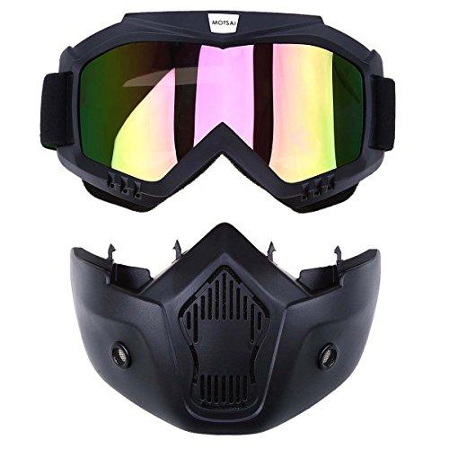 Possbay Motocrossbrille mit Gesichtsschutz für offene Helme