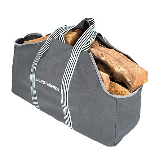 Strapazierfähige, graue Kaminholztasche aus Leintuch von VBag, speziell für Brennholz (Canvas Zubehör Big Tote)